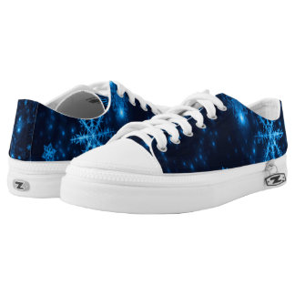 Deep Blue & Bright Snowflakes Low Top Shoes