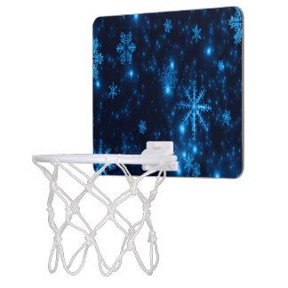 Deep Blue & Bright Snowflakes Mini Basketball Hoop