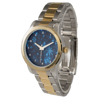 Deep Blue & Bright Snowflakes Oversized 2-Tone Watch