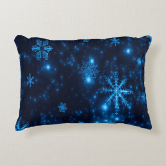 Deep Blue & Bright Snowflakes Polyester Pillow