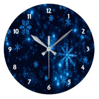Deep Blue & Bright Snowflakes Round Wall Clock