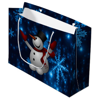 Deep Blue & Bright Snowflakes Snowman, Let It Snow Large Gift Bag