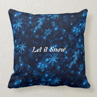 Deep Blue & Bright Snowflakes Square Throw Pillow