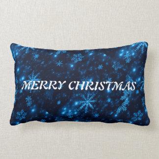 Deep Blue & Bright Snowflakes Throw Pillow Lumbar