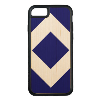 Deep Blue Diamond, Bold Maple Border Carved iPhone 7 Case