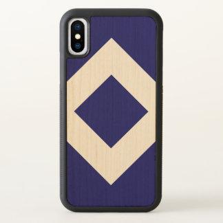 Deep Blue Diamond, Bold Maple Border iPhone X Case