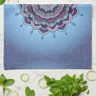 Deep Blue Glow Mandala ID361 Kitchen Towel