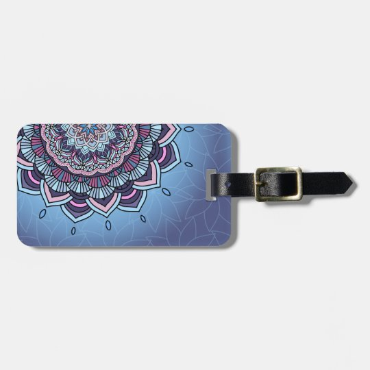 Deep Blue Glow Mandala ID361 Luggage Tag
