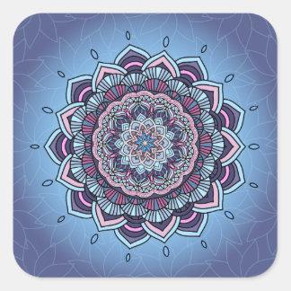 Deep Blue Glow Mandala ID361 Square Sticker