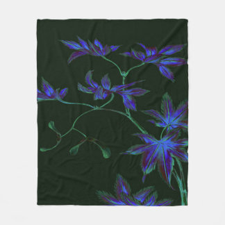 Deep Blue & Green Japanese Floral Fleece Blanket