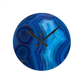 Deep Blue Lagoon Agate Round Clock