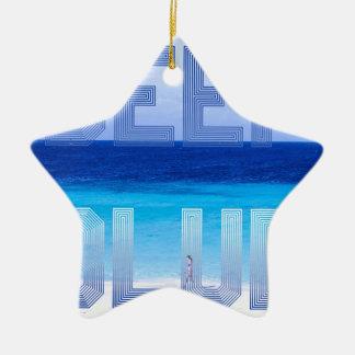 Deep Blue logo backdrop Ceramic Ornament