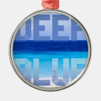 Deep Blue logo backdrop Metal Ornament