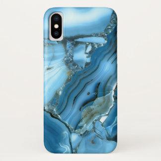 Deep Blue Marble Texture iPhone X Case