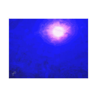 Deep Blue Moon Minimal Abstract Canvas Print