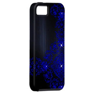 Deep Blue Ornate Damask iPhone 5 Cases