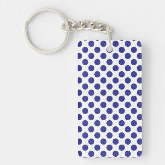 Deep Blue Polka Dots Keychain