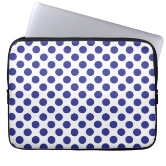 Deep Blue Polka Dots Laptop Sleeve
