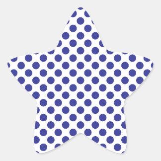 Deep Blue Polka Dots Star Sticker