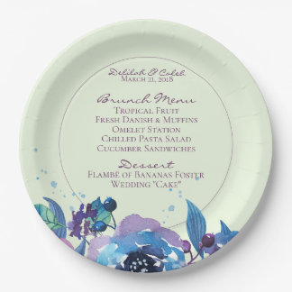 Deep Blue Purple Moody Twilight Floral Wedding Paper Plate