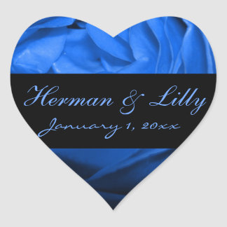 Deep Blue Rose Personalized Wedding Heart Sticker