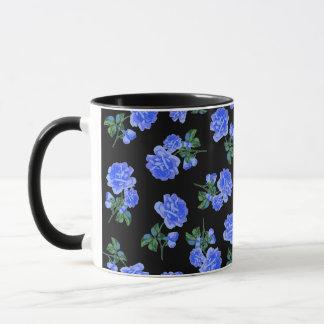 Deep Blue Roses flower pattern on black Mug