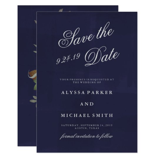 Deep Blue Save the Date with Moody Floral Reverse Card