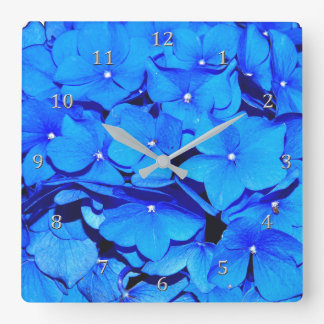 Deep Blue Spring Hydrangea Flowers Square Wall Clock