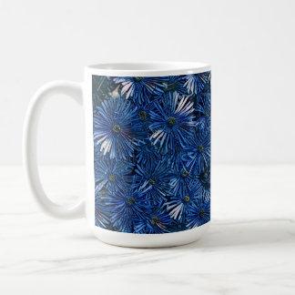 Deep Blue Stylized Flowers Tea / Coffee Mug
