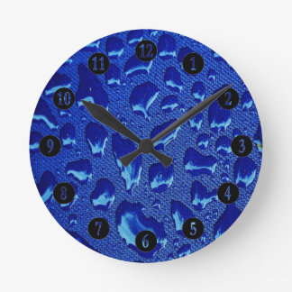 Deep Blue Water Droplets Round Clock