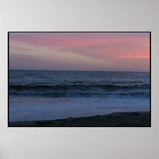 Deep blue waves & pastel skies poster