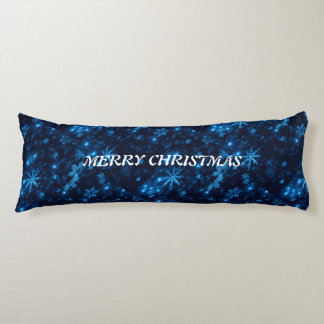 Deep Blue with Bright Snowflakes Body Pillow