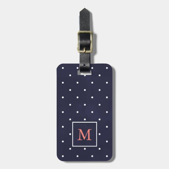 Deep Blue with Polka Dots and Coral Luggage Tag
