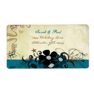 Deep Blueberry Musical Flower Swirl Return Address Shipping Label