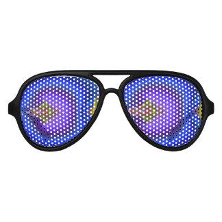 Deep Bluish Flowing Diamond Fractal Aviator Sunglasses