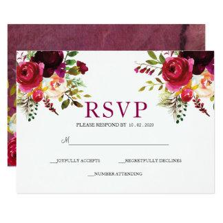 Deep Burgundy Reds | Floral  Bouquet RSVP Wedding Card