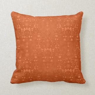 Deep Burnt Orange Fancy Damask Pattern Throw Pillow