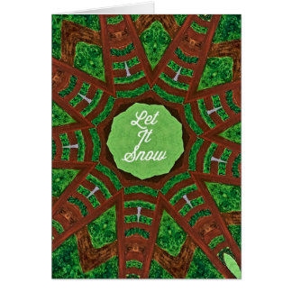 Deep Burnt Orange Green 'Let It Snow' Card