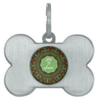 Deep Burnt Orange Green 'Let It Snow' Pet Name Tag