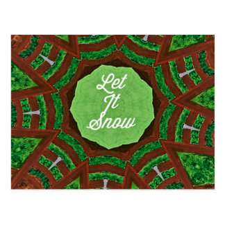 Deep Burnt Orange Green 'Let It Snow' Postcard