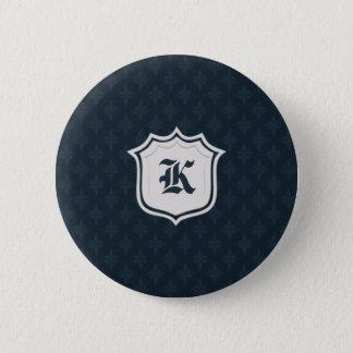 Deep Classic Navy Custom Monogram 2 Inch Round Button