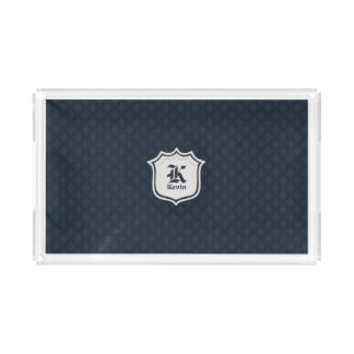 Deep Classic Navy Custom Monogram Acrylic Tray