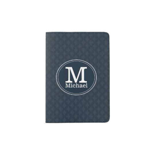 Deep Classic Navy Custom Monogram Passport Holder