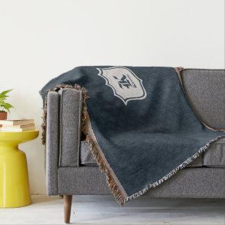 Deep Classic Navy Custom Monogram Throw Blanket