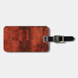 Deep Crimson Painting with Geometric Shapes Bag Tag
