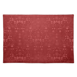 Deep Crimson Red Fancy Floral Damask Pattern Placemat