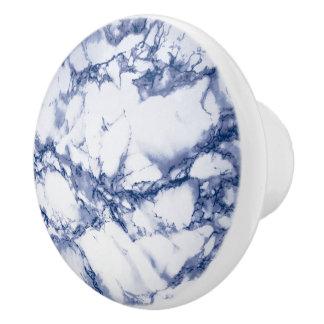 Deep Dark Blue Marble Ceramic Knob
