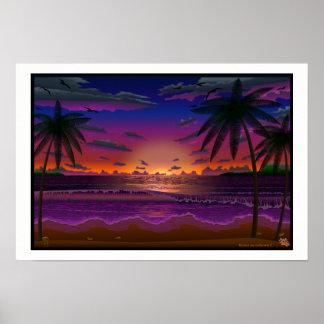 Deep Dusk Beach Scene landscape art print poster