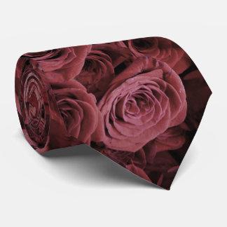 Deep dusty red Roses Tie