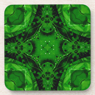 Deep Emerald Green Cross Shaped Design Coasters